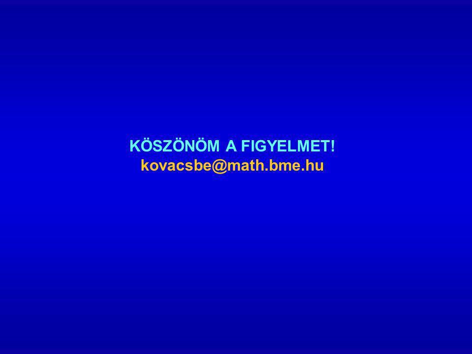 KÖSZÖNÖM A FIGYELMET! kovacsbe@math.bme.hu