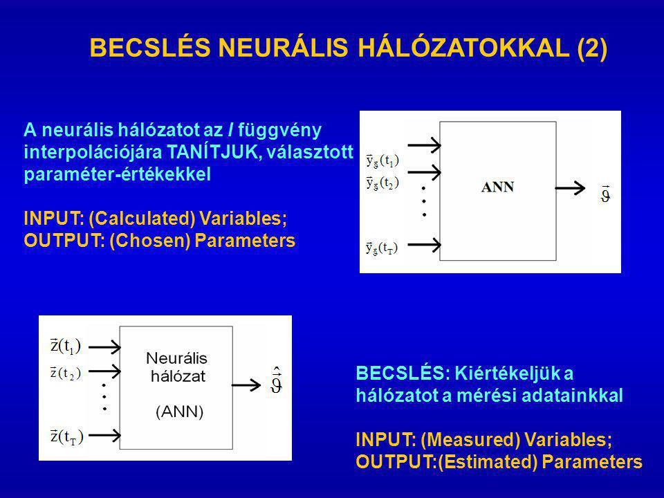 BECSLÉS NEURÁLIS HÁLÓZATOKKAL (2) A neurális hálózatot az I függvény interpolációjára TANÍTJUK, választott paraméter-értékekkel INPUT: (Calculated) Variables; OUTPUT: (Chosen) Parameters BECSLÉS: Kiértékeljük a hálózatot a mérési adatainkkal INPUT: (Measured) Variables; OUTPUT:(Estimated) Parameters