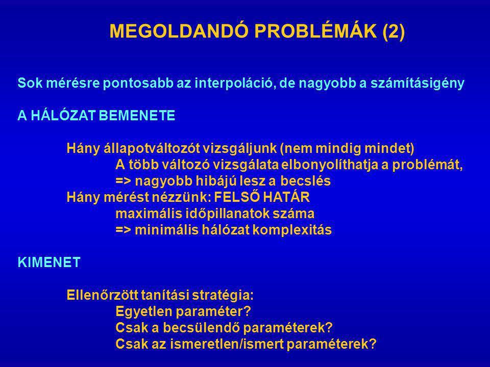 MEGOLDANDÓ PROBLÉMÁK (2) Sok mérésre pontosabb az interpoláció, de nagyobb a számításigény A HÁLÓZAT BEMENETE Hány állapotváltozót vizsgáljunk (nem mi