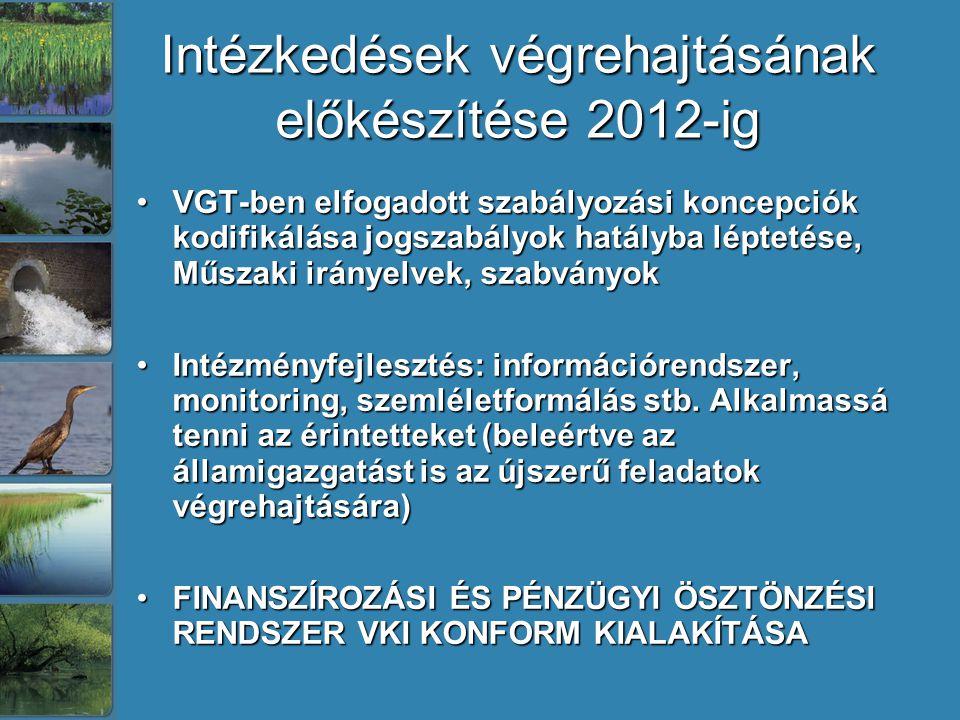 Intézkedések végrehajtásának előkészítése 2012-ig VGT-ben elfogadott szabályozási koncepciók kodifikálása jogszabályok hatályba léptetése, Műszaki irányelvek, szabványokVGT-ben elfogadott szabályozási koncepciók kodifikálása jogszabályok hatályba léptetése, Műszaki irányelvek, szabványok Intézményfejlesztés: információrendszer, monitoring, szemléletformálás stb.