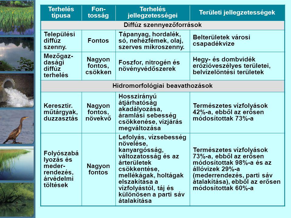 Terhelés típusa Fon- tosság Terhelés jellegzetességei Területi jellegzetességek Diffúz szennyezőforrások Települési diffúz szenny.