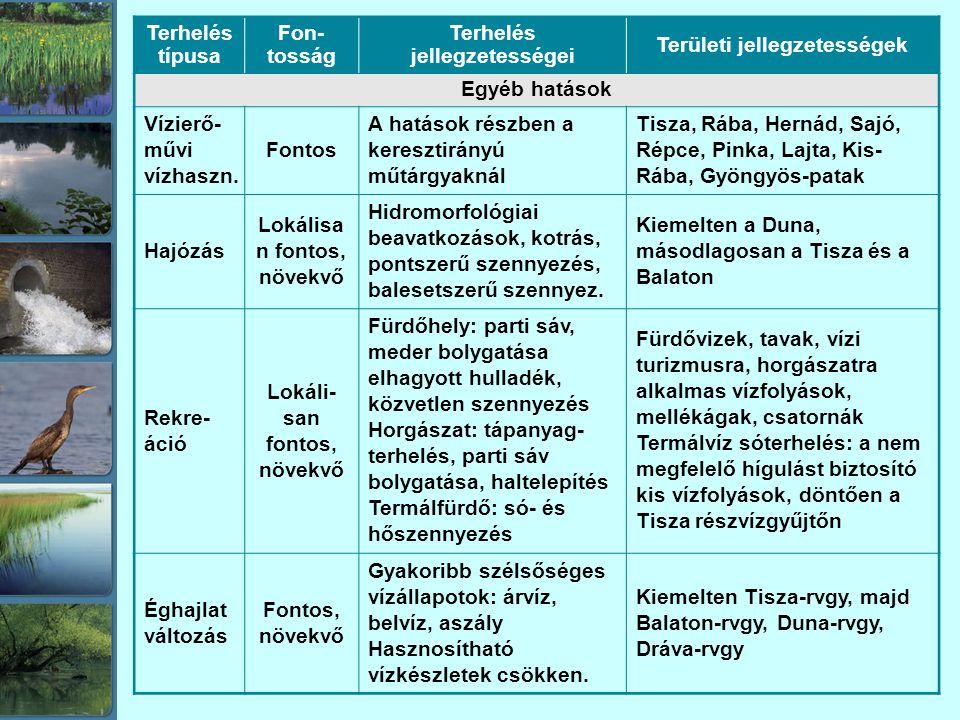Terhelés típusa Fon- tosság Terhelés jellegzetességei Területi jellegzetességek Egyéb hatások Vízierő- művi vízhaszn.