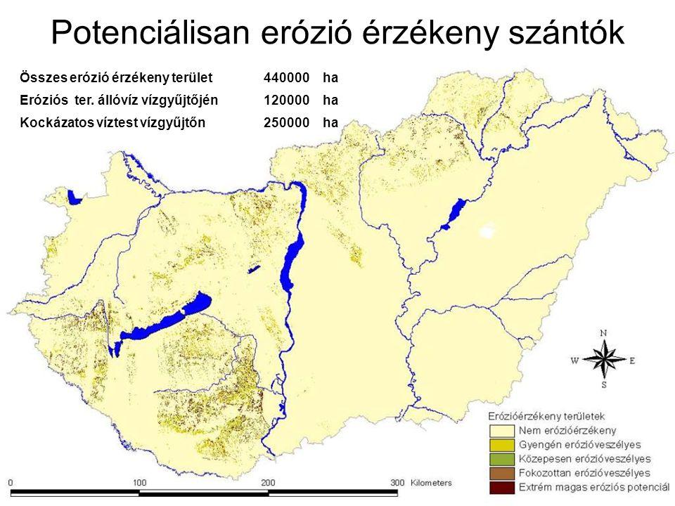 Összes erózió érzékeny terület440000ha Eróziós ter.