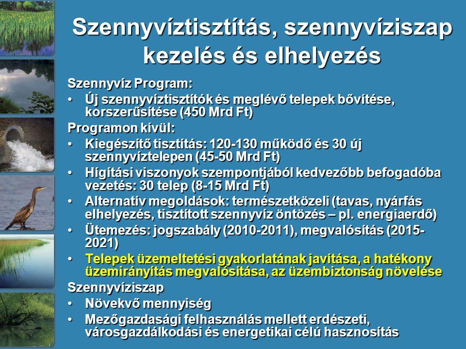 Szennyvíztisztítás, szennyvíziszap kezelés és elhelyezés Szennyvíz Program: Új szennyvíztisztítók és meglévő telepek bővítése, korszerűsítése (450 Mrd Ft)Új szennyvíztisztítók és meglévő telepek bővítése, korszerűsítése (450 Mrd Ft) Programon kívül: Kiegészítő tisztítás: 120-130 működő és 30 új szennyvíztelepen (45-50 Mrd Ft)Kiegészítő tisztítás: 120-130 működő és 30 új szennyvíztelepen (45-50 Mrd Ft) Hígítási viszonyok szempontjából kedvezőbb befogadóba vezetés: 30 telep (8-15 Mrd Ft)Hígítási viszonyok szempontjából kedvezőbb befogadóba vezetés: 30 telep (8-15 Mrd Ft) Alternatív megoldások: természetközeli (tavas, nyárfás elhelyezés, tisztított szennyvíz öntözés – pl.