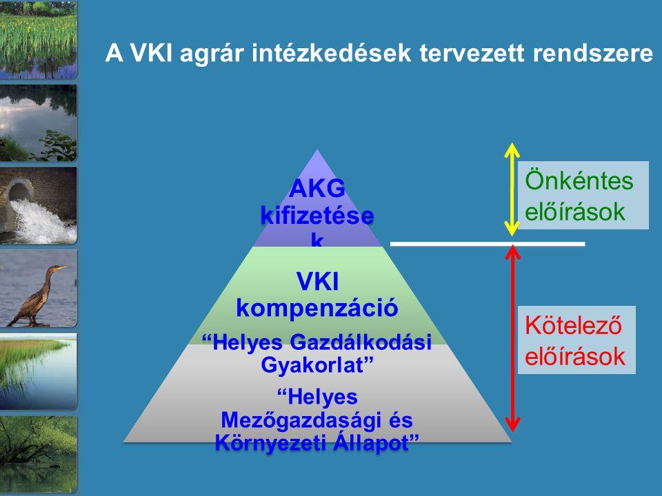 A VKI agrár intézkedések tervezett rendszere Kötelező előírások Önkéntes előírások
