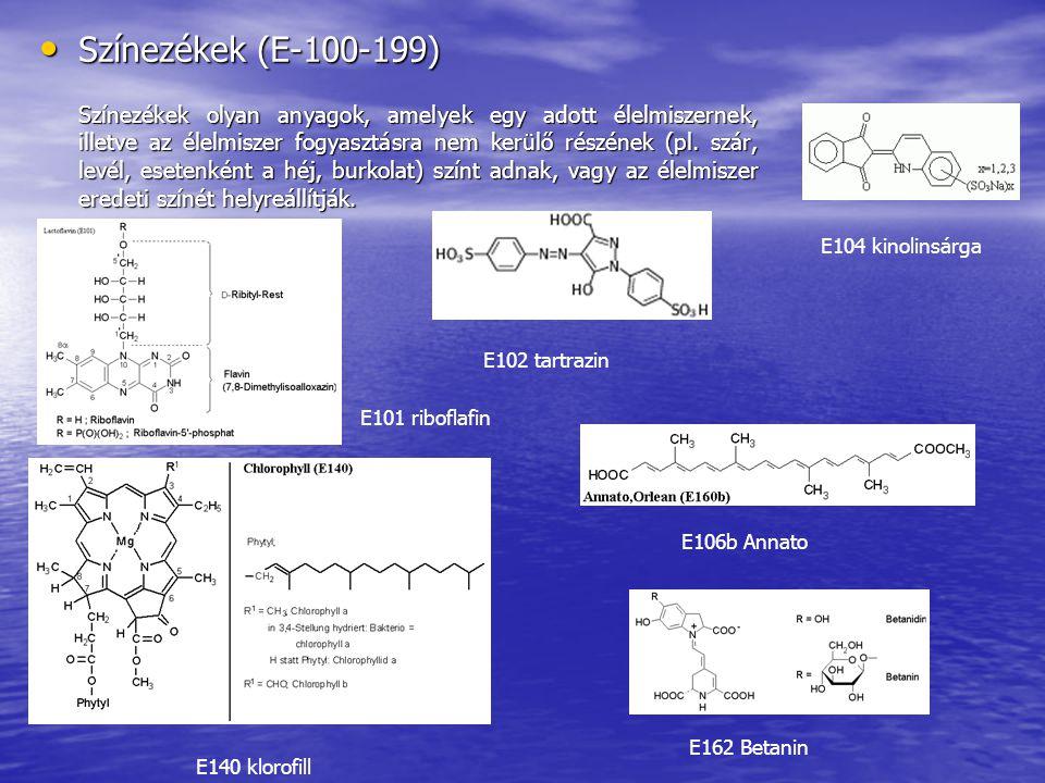 Színezékek (E-100-199) Színezékek (E-100-199) Színezékek olyan anyagok, amelyek egy adott élelmiszernek, illetve az élelmiszer fogyasztásra nem kerülő részének (pl.