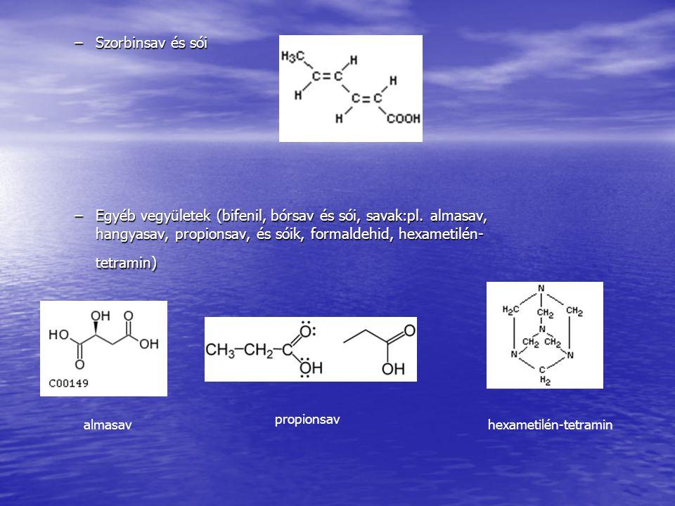 –Szorbinsav és sói –Egyéb vegyületek (bifenil, bórsav és sói, savak:pl.