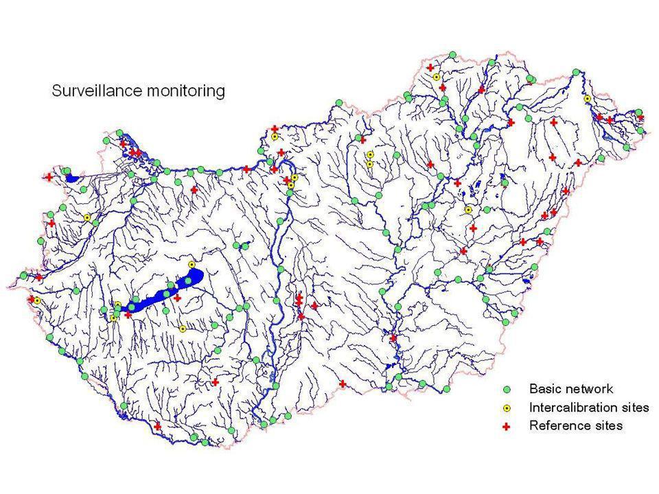 A felszín alatti monitoring szervezeti rendszere Korábbi országos vízminőségi törzshálózatban 774 mintavételi hely; 2004-től (PHARE): 400 talajvízkút; Termelő vízhasználók > 100 m 3 /nap (ivóvíz: > 10 m 3 /nap)