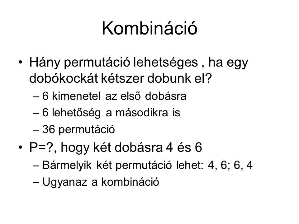 Kombináció Hány permutáció lehetséges, ha egy dobókockát kétszer dobunk el.