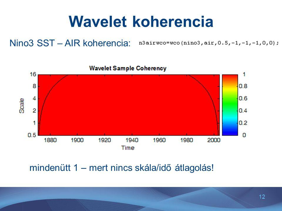 12 Wavelet koherencia Nino3 SST – AIR koherencia: mindenütt 1 – mert nincs skála/idő átlagolás!