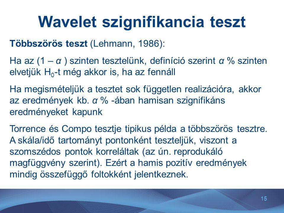 15 Wavelet szignifikancia teszt Többszörös teszt (Lehmann, 1986): Ha az (1 – α ) szinten tesztelünk, definíció szerint α % szinten elvetjük H 0 -t még akkor is, ha az fennáll Ha megismételjük a tesztet sok független realizációra, akkor az eredmények kb.