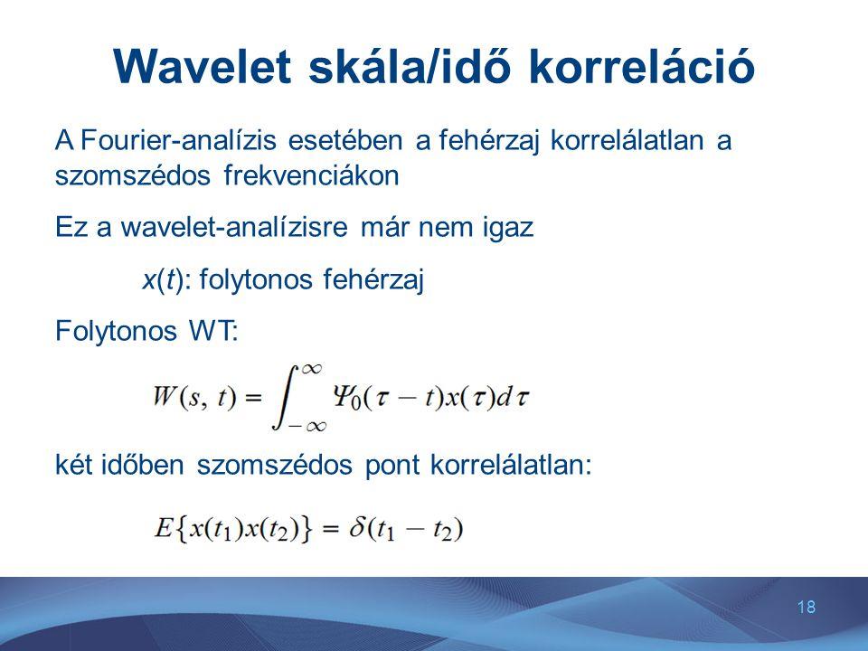 18 Wavelet skála/idő korreláció A Fourier-analízis esetében a fehérzaj korrelálatlan a szomszédos frekvenciákon Ez a wavelet-analízisre már nem igaz x(t): folytonos fehérzaj Folytonos WT: két időben szomszédos pont korrelálatlan: