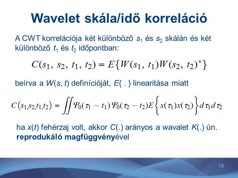 19 Wavelet skála/idő korreláció A CWT korrelációja két különböző s 1 és s 2 skálán és két különböző t 1 és t 2 időpontban: beírva a W(s, t) definícióját, E{.