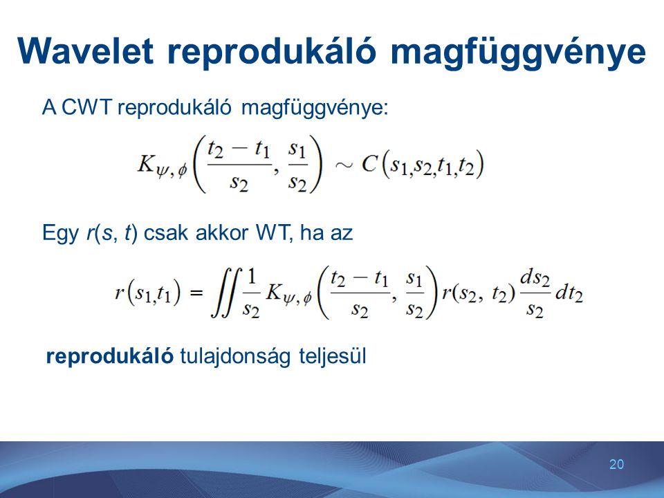 20 Wavelet reprodukáló magfüggvénye A CWT reprodukáló magfüggvénye: Egy r(s, t) csak akkor WT, ha az reprodukáló tulajdonság teljesül