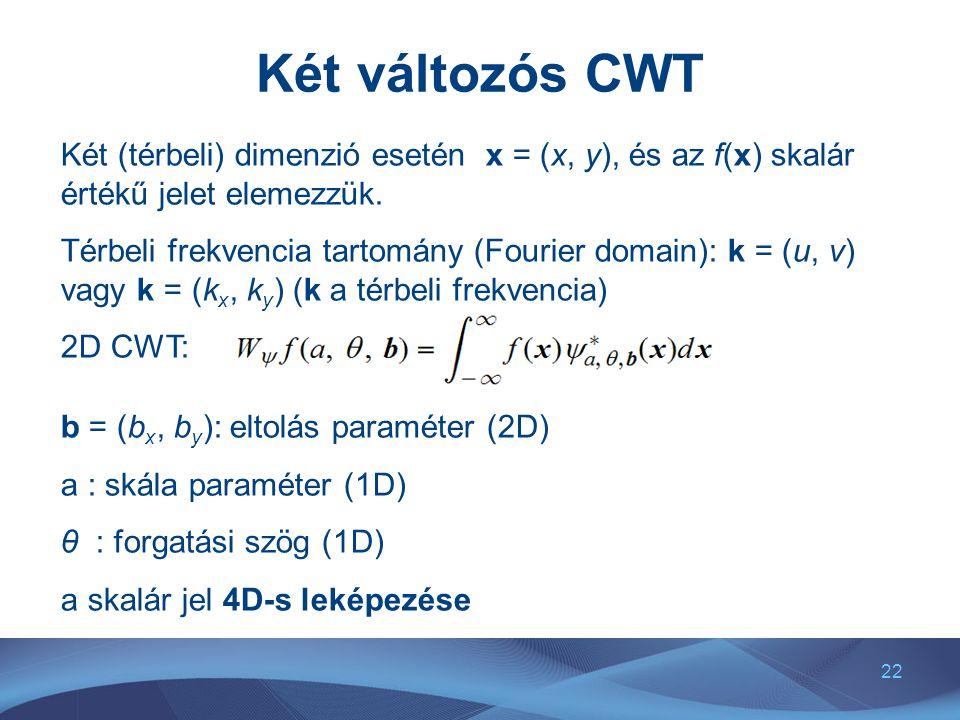 22 Két változós CWT Két (térbeli) dimenzió esetén x = (x, y), és az f(x) skalár értékű jelet elemezzük.