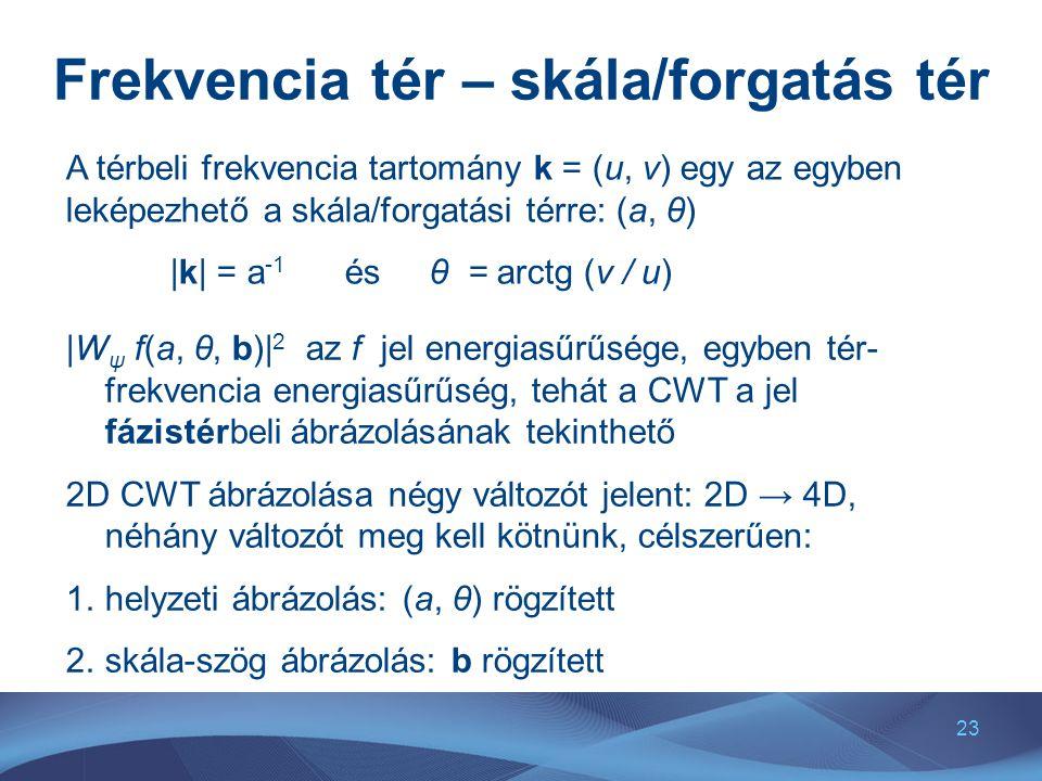 23 Frekvencia tér – skála/forgatás tér A térbeli frekvencia tartomány k = (u, v) egy az egyben leképezhető a skála/forgatási térre: (a, θ) |k| = a -1 és θ = arctg (v / u) |W ψ f(a, θ, b)| 2 az f jel energiasűrűsége, egyben tér- frekvencia energiasűrűség, tehát a CWT a jel fázistérbeli ábrázolásának tekinthető 2D CWT ábrázolása négy változót jelent: 2D → 4D, néhány változót meg kell kötnünk, célszerűen: 1.helyzeti ábrázolás: (a, θ) rögzített 2.skála-szög ábrázolás: b rögzített