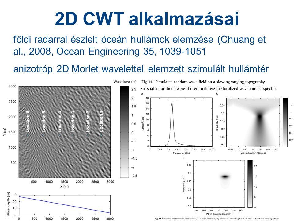28 2D CWT alkalmazásai földi radarral észlelt óceán hullámok elemzése (Chuang et al., 2008, Ocean Engineering 35, 1039-1051 anizotróp 2D Morlet wavelettel elemzett szimulált hullámtér