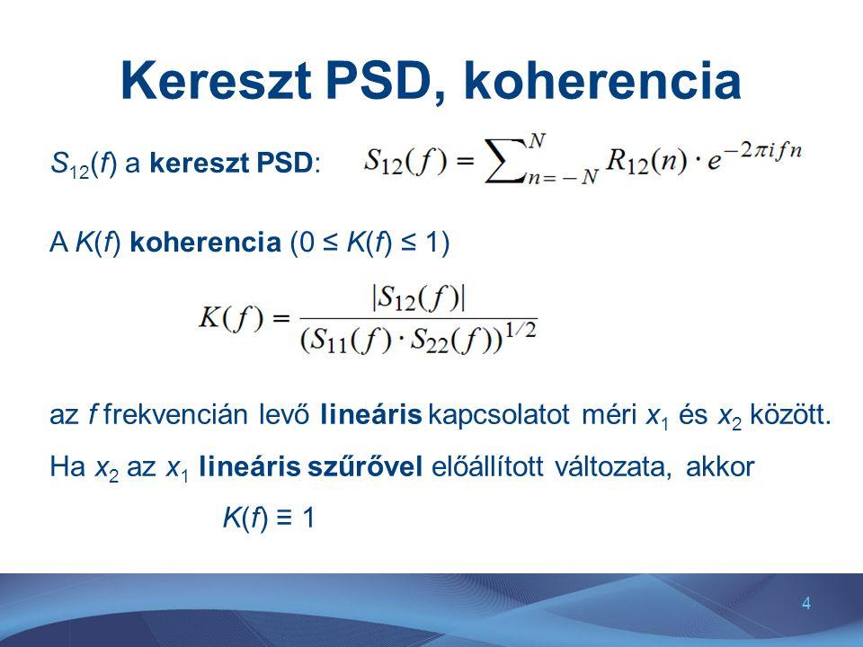 4 Kereszt PSD, koherencia S 12 (f) a kereszt PSD: A K(f) koherencia (0 ≤ K(f) ≤ 1) az f frekvencián levő lineáris kapcsolatot méri x 1 és x 2 között.