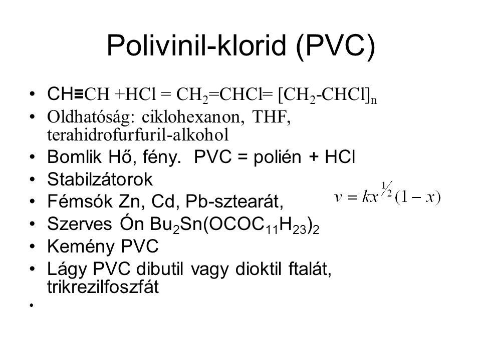 Polivinil-klorid (PVC) CH ≡ CH +HCl = CH 2 =CHCl= [CH 2 -CHCl] n Oldhatóság: ciklohexanon, THF, terahidrofurfuril-alkohol Bomlik Hő, fény. PVC = polié