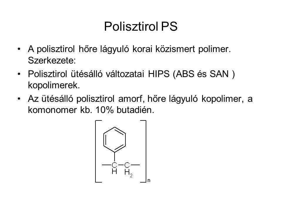 Polisztirol PS A polisztirol hőre lágyuló korai közismert polimer. Szerkezete: Polisztirol ütésálló változatai HIPS (ABS és SAN ) kopolimerek. Az ütés