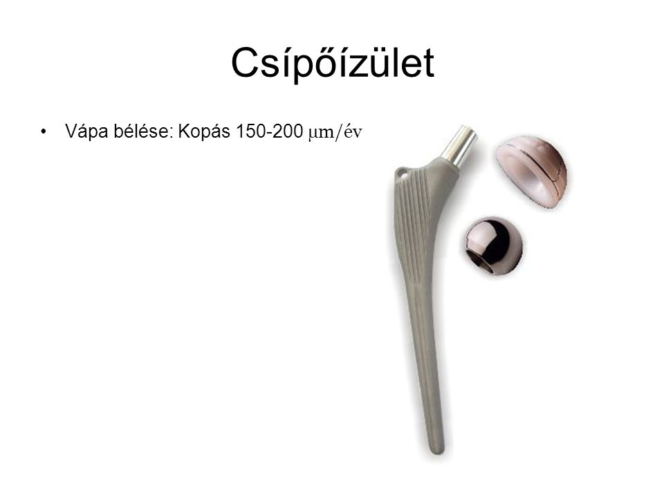 Csípőízület Vápa bélése: Kopás 150-200 µm/év