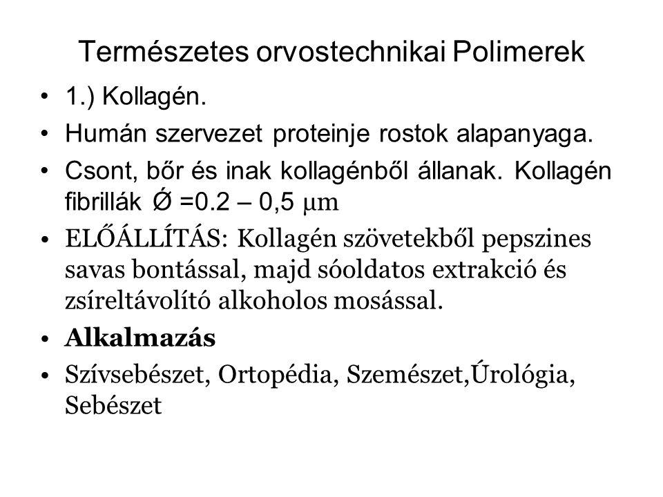 Természetes orvostechnikai Polimerek 1.) Kollagén. Humán szervezet proteinje rostok alapanyaga. Csont, bőr és inak kollagénből állanak. Kollagén fibri