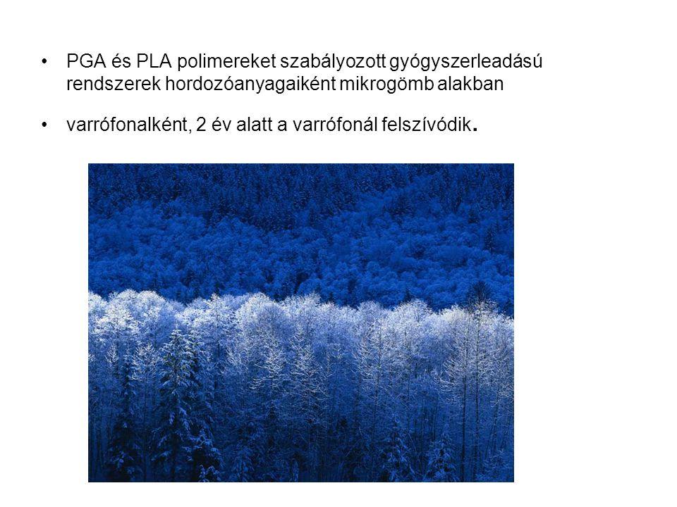 PGA és PLA polimereket szabályozott gyógyszerleadású rendszerek hordozóanyagaiként mikrogömb alakban varrófonalként, 2 év alatt a varrófonál felszívód