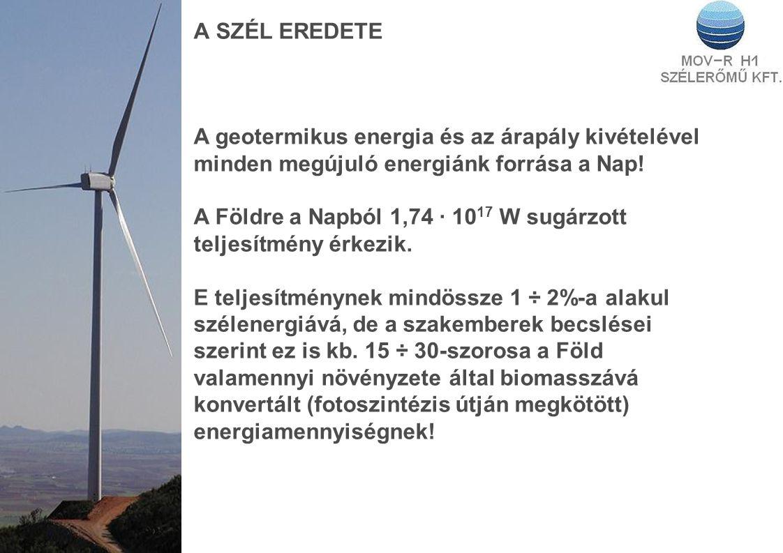 A SZÉL EREDETE A geotermikus energia és az árapály kivételével minden megújuló energiánk forrása a Nap! A Földre a Napból 1,74 · 10 17 W sugárzott tel