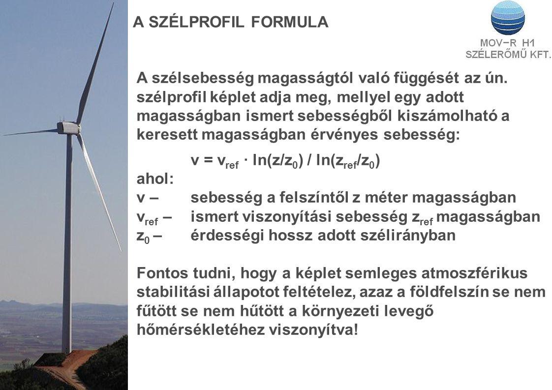A SZÉLPROFIL FORMULA A szélsebesség magasságtól való függését az ún. szélprofil képlet adja meg, mellyel egy adott magasságban ismert sebességből kisz