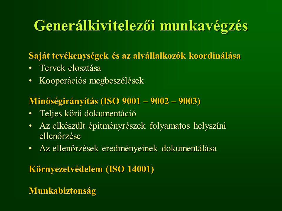 Generálkivitelezői munkavégzés Saját tevékenységek és az alvállalkozók koordinálása Tervek elosztásaTervek elosztása Kooperációs megbeszélésekKooperác