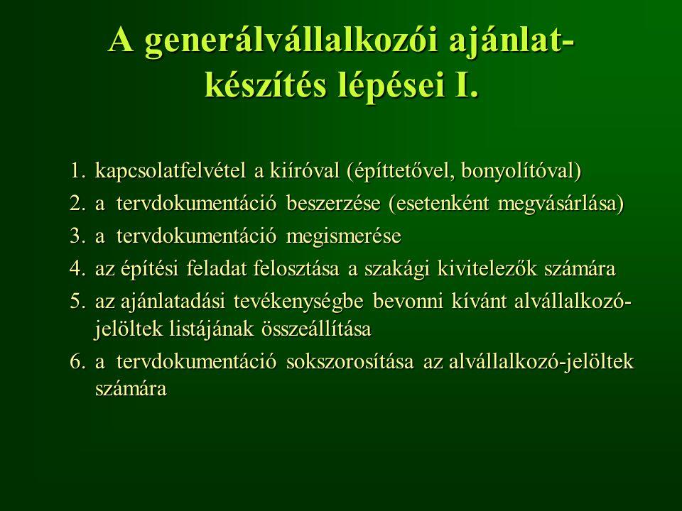A generálvállalkozói ajánlat- készítés lépései I. 1.kapcsolatfelvétel a kiíróval (építtetővel, bonyolítóval) 2.a tervdokumentáció beszerzése (esetenké