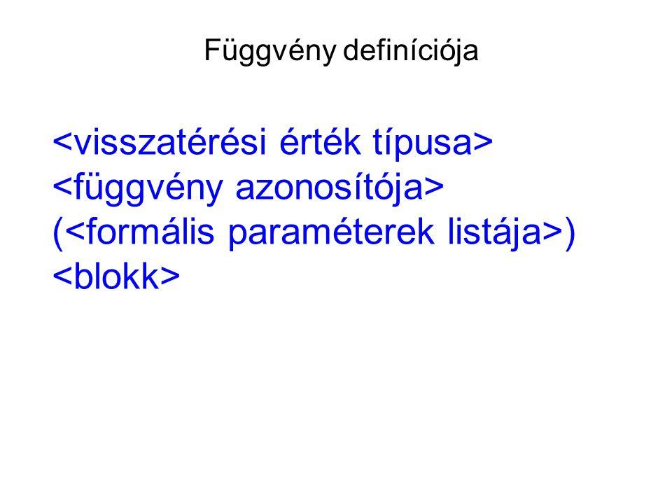 Függvény definíciója ( )