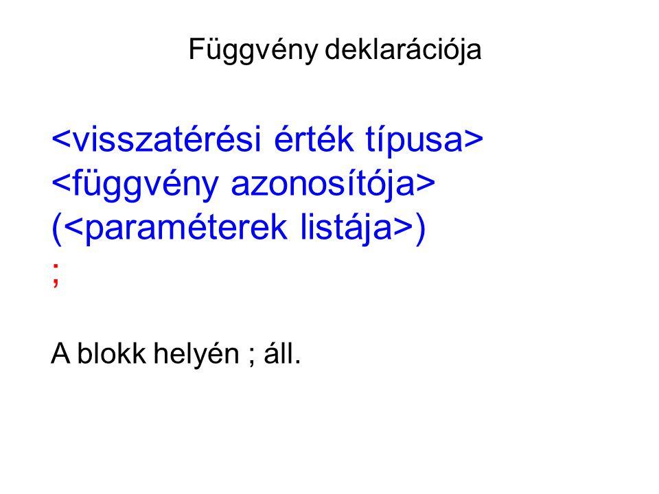 Függvény deklarációja ( ) ; A blokk helyén ; áll.