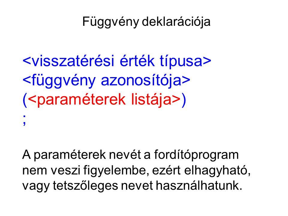 Függvény deklarációja ( ) ; A paraméterek nevét a fordítóprogram nem veszi figyelembe, ezért elhagyható, vagy tetszőleges nevet használhatunk.