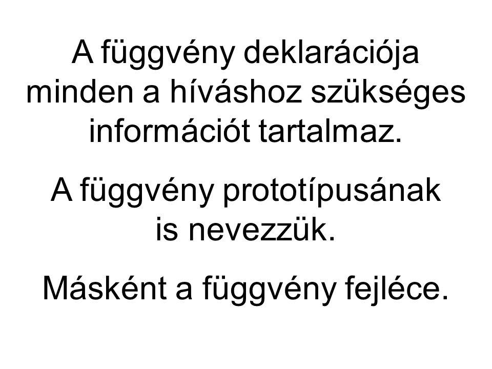 A függvény deklarációja minden a híváshoz szükséges információt tartalmaz.