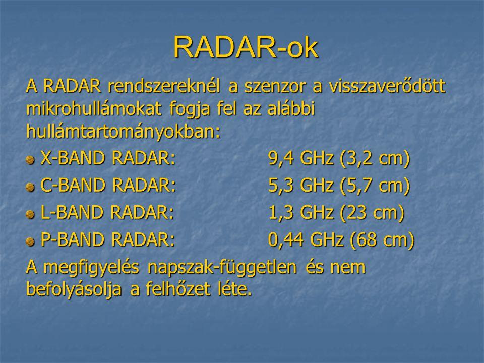 RADAR-ok A RADAR rendszereknél a szenzor a visszaverődött mikrohullámokat fogja fel az alábbi hullámtartományokban: X-BAND RADAR:9,4 GHz (3,2 cm) X-BAND RADAR:9,4 GHz (3,2 cm) C-BAND RADAR:5,3 GHz (5,7 cm) C-BAND RADAR:5,3 GHz (5,7 cm) L-BAND RADAR:1,3 GHz (23 cm) L-BAND RADAR:1,3 GHz (23 cm) P-BAND RADAR:0,44 GHz (68 cm) P-BAND RADAR:0,44 GHz (68 cm) A megfigyelés napszak-független és nem befolyásolja a felhőzet léte.