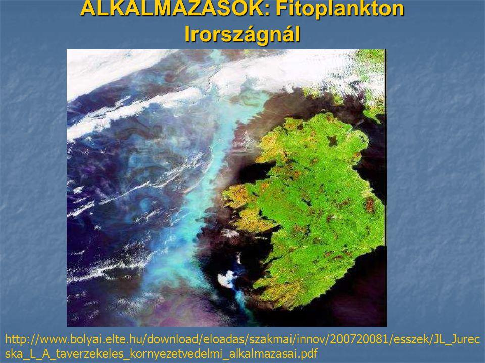 ALKALMAZÁSOK: Fitoplankton Irországnál http://www.bolyai.elte.hu/download/eloadas/szakmai/innov/200720081/esszek/JL_Jurec ska_L_A_taverzekeles_kornyezetvedelmi_alkalmazasai.pdf