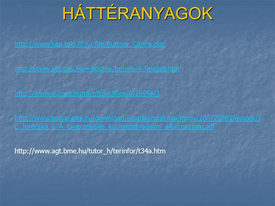 HÁTTÉRANYAGOK http://www.kep.taki.iif.hu/file/Buttner_Corine.doc http://www.ktg.gau.hu/~podma/terinfo/4_fejezet.htm http://www.sulinet.hu/tart/fcikk/Kice/0/16956/1 http://www.bolyai.elte.hu/download/eloadas/szakmai/innov/200720081/esszek/J L_Jurecska_L_A_taverzekeles_kornyezetvedelmi_alkalmazasai.pdf http://www.agt.bme.hu/tutor_h/terinfor/t34a.htm