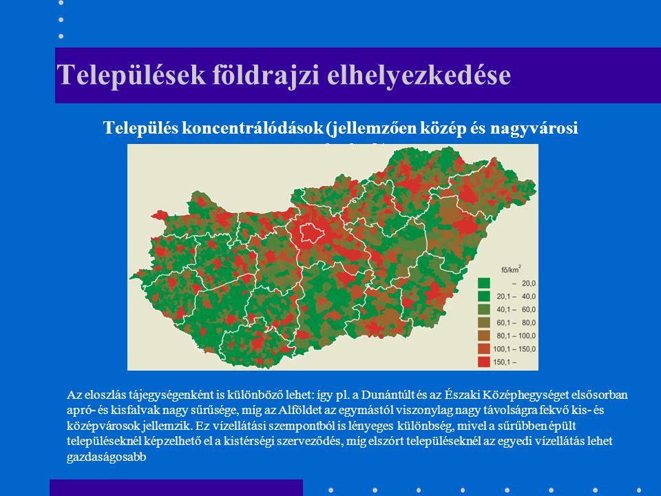 Települések földrajzi elhelyezkedése Település koncentrálódások (jellemzően közép és nagyvárosi térségek) Az eloszlás tájegységenként is különböző lehet: így pl.