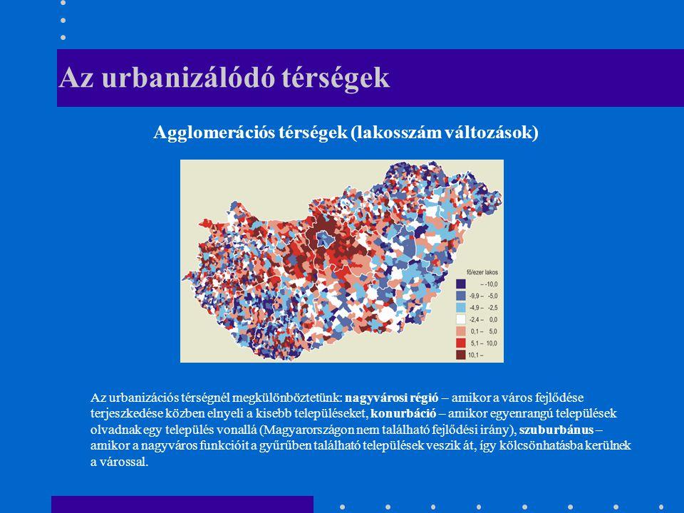 Az urbanizálódó térségek Agglomerációs térségek (lakosszám változások) Az urbanizációs térségnél megkülönböztetünk: nagyvárosi régió – amikor a város fejlődése terjeszkedése közben elnyeli a kisebb településeket, konurbáció – amikor egyenrangú települések olvadnak egy település vonallá (Magyarországon nem található fejlődési irány), szuburbánus – amikor a nagyváros funkcióit a gyűrűben található települések veszik át, így kölcsönhatásba kerülnek a várossal.
