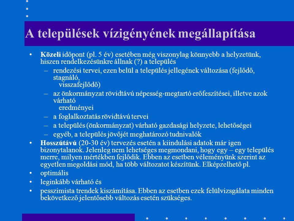 A települések vízigényének megállapítása Közeli időpont (pl.