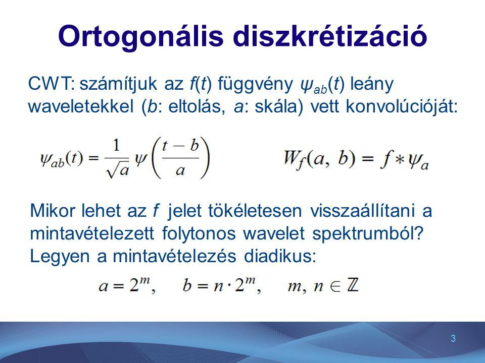 4 Diszkrét wavelet felbontás esetében Coifman és Meyer (1986) szerint létezik olyan teljes ortonormált ψ mn (t) bázis, melyre Az f(t) függvény ψ mn (t) bázisfüggvényekkel (n: eltolás, m: skála) történő felbontása,