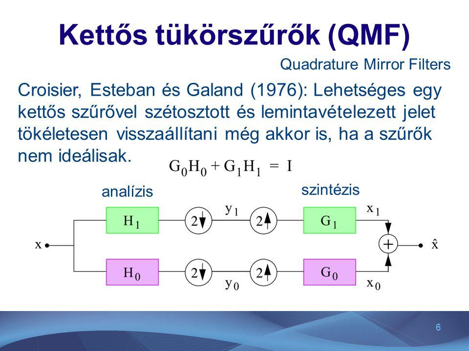 7 Kettős tükörszűrő példa konvolúciós szűrők a legegyszerűbb szűrő: a konvolúció mátrixa: