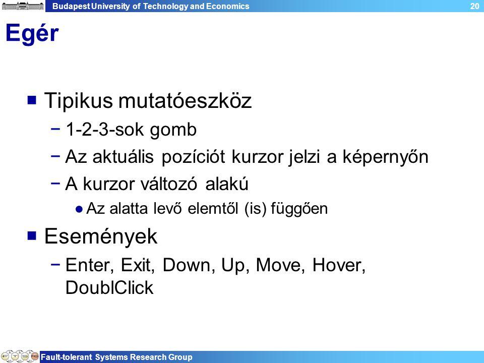 Budapest University of Technology and Economics Fault-tolerant Systems Research Group 20 Egér  Tipikus mutatóeszköz −1-2-3-sok gomb −Az aktuális pozíciót kurzor jelzi a képernyőn −A kurzor változó alakú ●Az alatta levő elemtől (is) függően  Események −Enter, Exit, Down, Up, Move, Hover, DoublClick