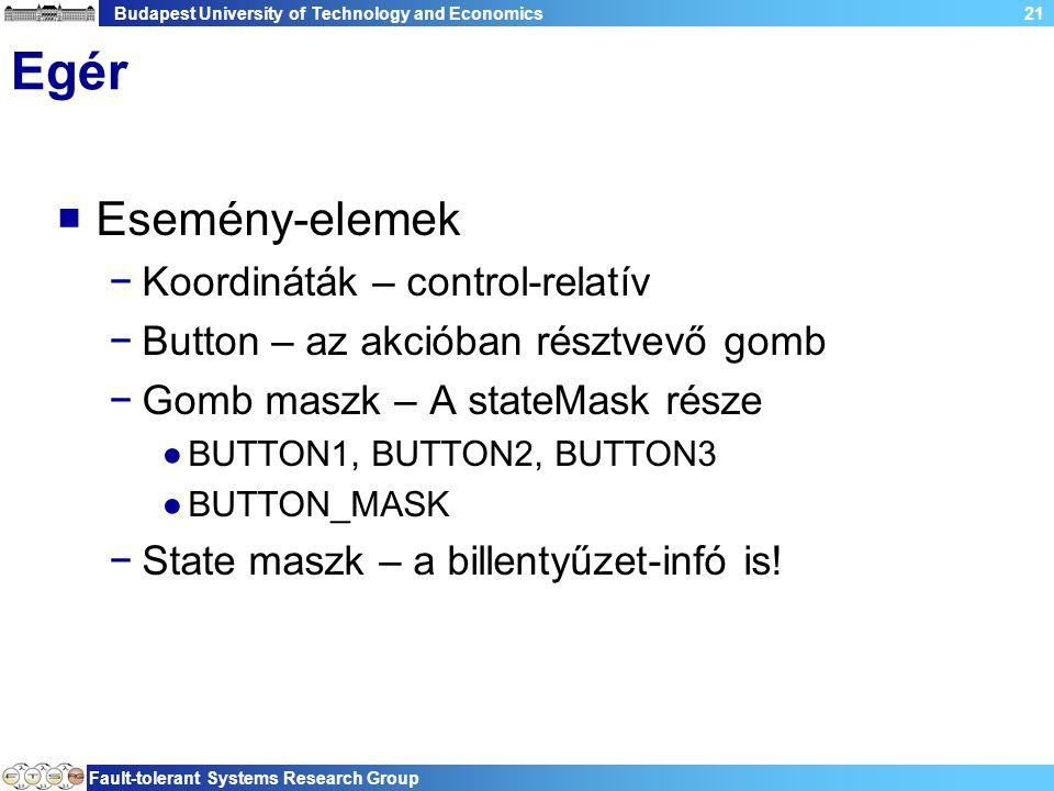 Budapest University of Technology and Economics Fault-tolerant Systems Research Group 21 Egér  Esemény-elemek −Koordináták – control-relatív −Button – az akcióban résztvevő gomb −Gomb maszk – A stateMask része ●BUTTON1, BUTTON2, BUTTON3 ●BUTTON_MASK −State maszk – a billentyűzet-infó is!
