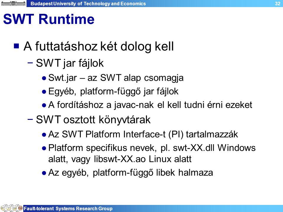 Budapest University of Technology and Economics Fault-tolerant Systems Research Group 32 SWT Runtime  A futtatáshoz két dolog kell −SWT jar fájlok ●Swt.jar – az SWT alap csomagja ●Egyéb, platform-függő jar fájlok ●A fordításhoz a javac-nak el kell tudni érni ezeket −SWT osztott könyvtárak ●Az SWT Platform Interface-t (PI) tartalmazzák ●Platform specifikus nevek, pl.