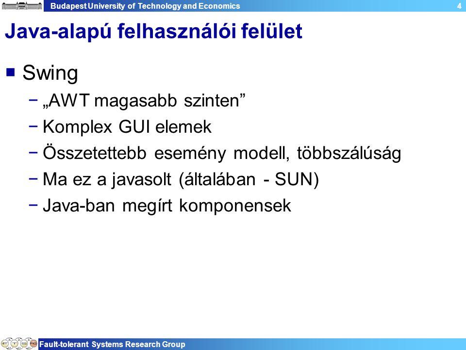 Budapest University of Technology and Economics Fault-tolerant Systems Research Group 55 Text  Metódusok −setText(String) −setSelection(int,int) −cut(), copy(), paste() −insert(String), append(String) −getLineCount(), getLineHeight()  Megjegyzés −Kurzor (caret) jelzi az aktuális beviteli pontot −Indexek 0 bázisúak