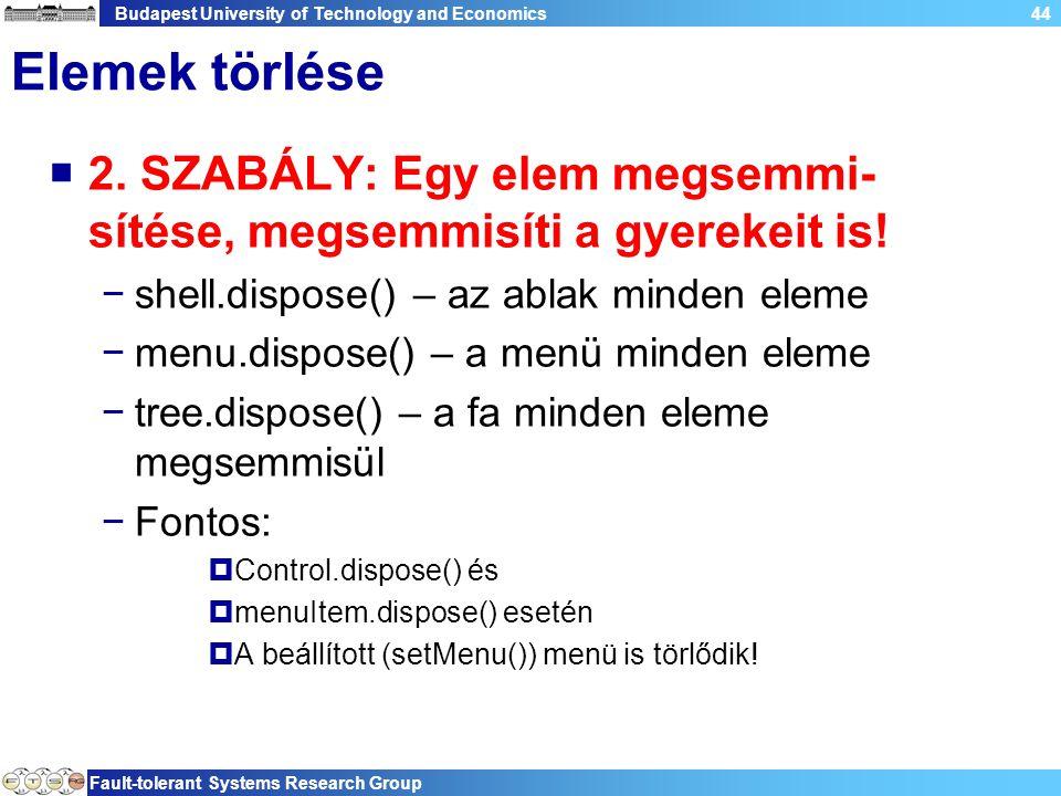 Budapest University of Technology and Economics Fault-tolerant Systems Research Group 44 Elemek törlése  2.