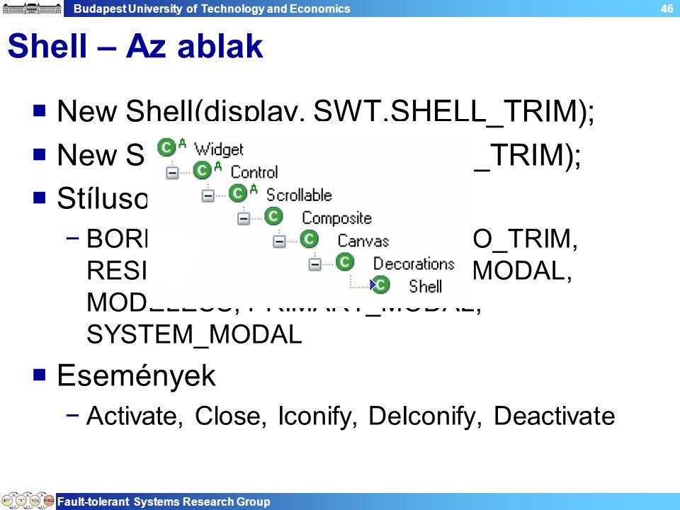 Budapest University of Technology and Economics Fault-tolerant Systems Research Group 46 Shell – Az ablak  New Shell(display, SWT.SHELL_TRIM);  New