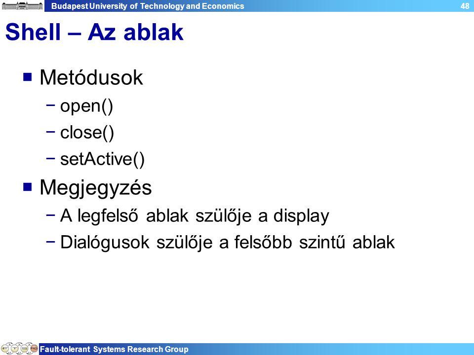 Budapest University of Technology and Economics Fault-tolerant Systems Research Group 48 Shell – Az ablak  Metódusok −open() −close() −setActive()  Megjegyzés −A legfelső ablak szülője a display −Dialógusok szülője a felsőbb szintű ablak
